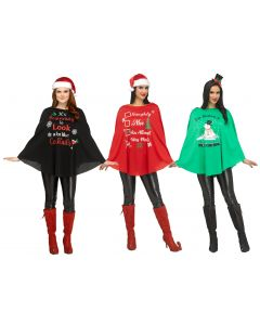 Christmas Party Poncho Assortment - Adult