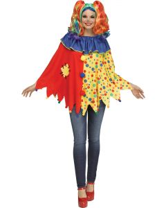Multicolor Clown Poncho - Adult
