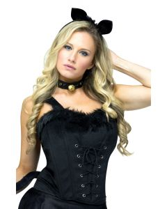 Black Velvet and Fur Corset