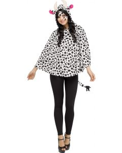 Cow Hooded Poncho - Adult