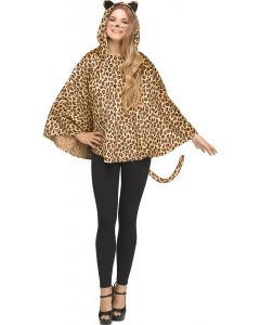 Leopard Hooded Poncho - Adult