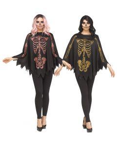 Glitter Skeleton Poncho Assortment - Adult