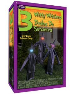 """36"""" Light-Up & Color Change 3 Witty Lawn Witches"""