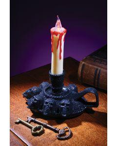 """6"""" Black Glitter Skull Candle Holder"""