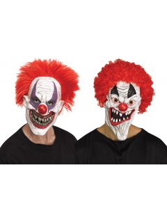 Demented Clown Mask with Hair Assortment