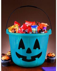 Teal Trick or Treat Pumpkin Bucket
